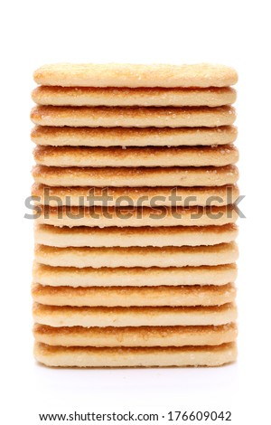 stack of sweet sugar cookies isolated on white background