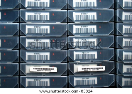 Stack of Tape Backups - stock photo