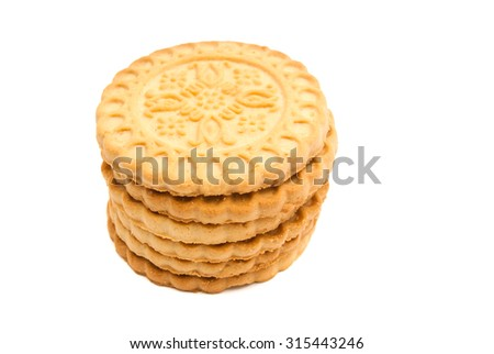 stack of tasty cookies on white closeup - stock photo