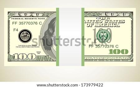 Stack of ten thousand dollar bills. - stock photo