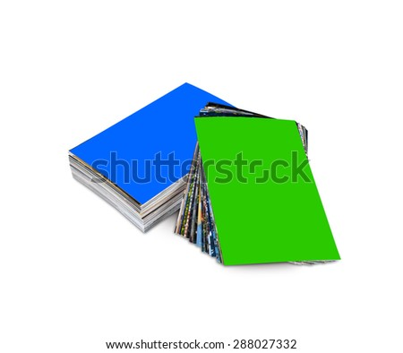 Stack of the customizable photos isolated on a white background - stock photo