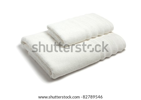 Stack of the multicolored towels - stock photo