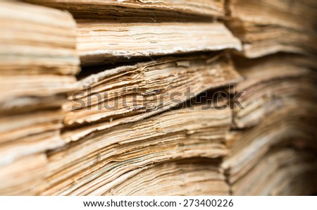 Stack of the old paper documents in the archive. - stock photo