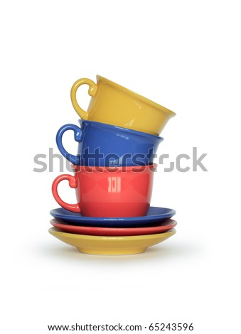 Stack of three motley cups isolated on white background with clipping path - stock photo