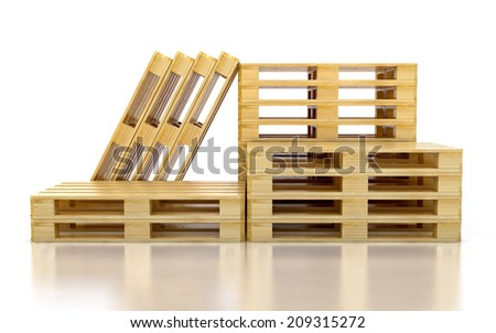 Stack of three wooden pallets. One pallet near. Isolated on white - stock photo
