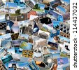Stack of travel images from the world. - stock photo