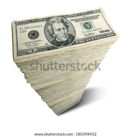 Stack of twenty-dollar bills on white background - stock photo