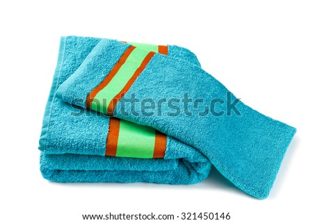 stack of two blue striped towels isolated on white background