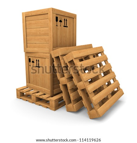 Stack of two wooden boxes on pallet. Two pallets near. Packing signs print. Isolated on white. - stock photo