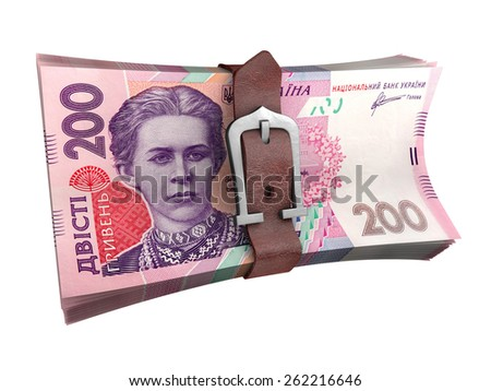 Stack of ukrainian money with leather belt. Crisis concept 3d illustration.