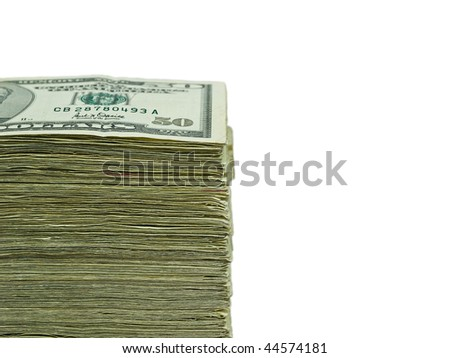 Stack of United States currency background - fifty dollar bills - stock photo