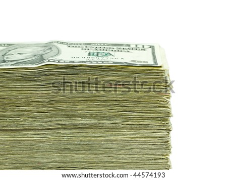 Stack of United States currency background - ten dollar bills - stock photo