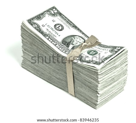 Stack of United States Currency Tied in a Ribbon - Twos