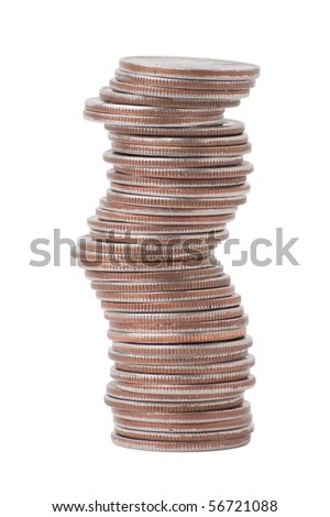 Stack of us currency coins, all quarters. isolated on white background, saved with clipping path