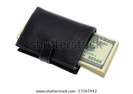 Stack of US one hundred dollar bills in wallet, isolated on white