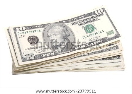 stack of used american dollars banknotes isolated on white background