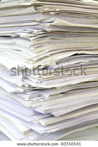 stack of used papers for recycling - stock photo