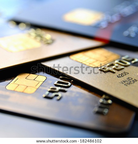 Stack of various credit cards - stock photo