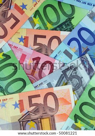 Stack of various Euro banknotes - stock photo