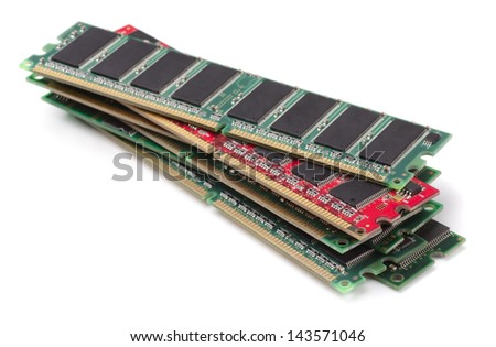 Stack of various RAM modules isolated on white - stock photo