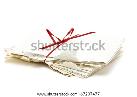Stack of vintage love letters over white background - stock photo