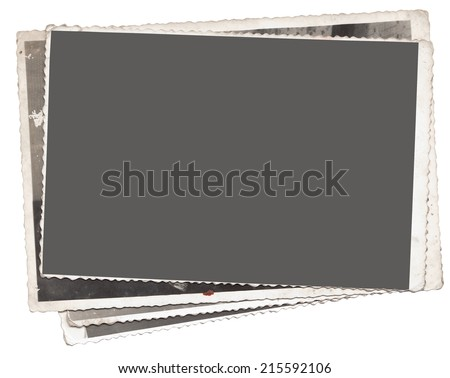 Stack of Vintage photos with clipping path for the inside