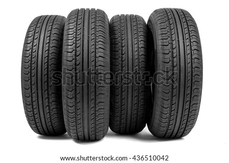 Stack of wheels. Isolated on white background - stock photo