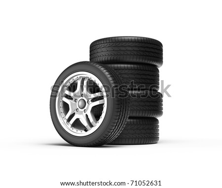 Stack of wheels on white background. Computer generated image. - stock photo