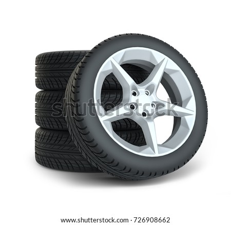 Stack of wheels on white background. 3d illustration