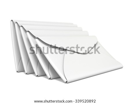 Stack of white, blank envelopes. 3D rendering illustration isolated on white background - stock photo