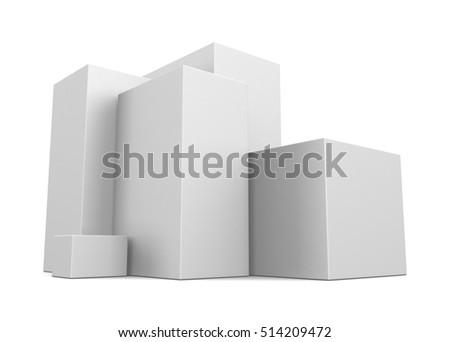 Stack of white boxes isolated on white background. 3d render