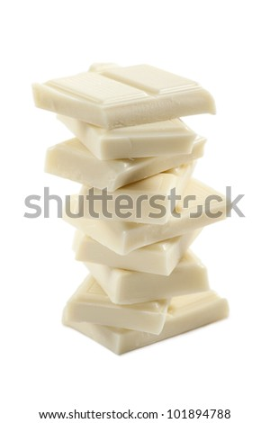 stack of white chocolate block, isolated on white