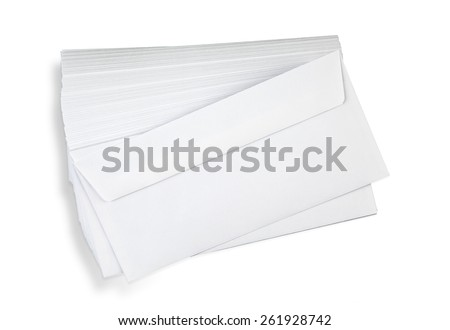Stack of white envelopes on white with shadow