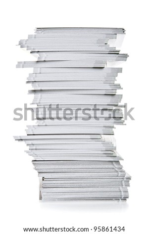 stack of white paper isolated on a white background - stock photo