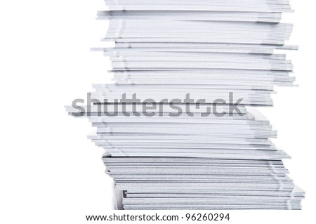 stack of white paper isolated on a white background