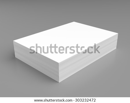 Stack of white paper on grey background