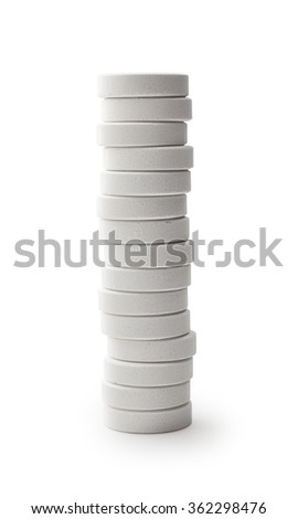Stack of white pills , clipping path - stock photo