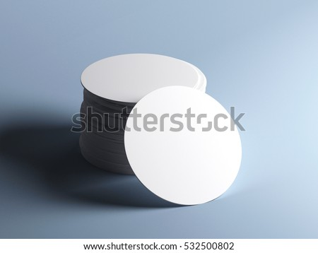 Of white round beer coasters isolated on grey background mockup 3d