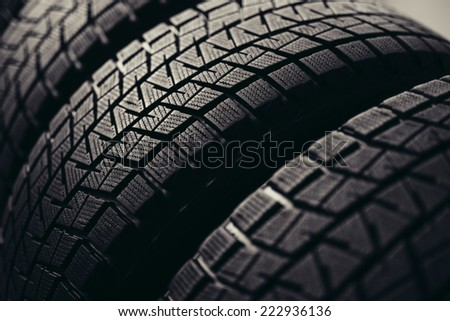 Stack of winter tyres  - stock photo
