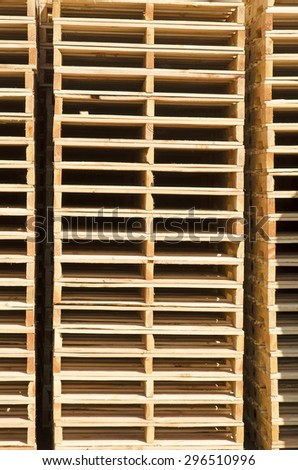 Stack of wood pallets outside a fish packing plant in Oregon - stock photo