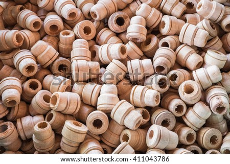 Stack of wood using for handmade umbrella in Chiang Mai province, Thailand - stock photo