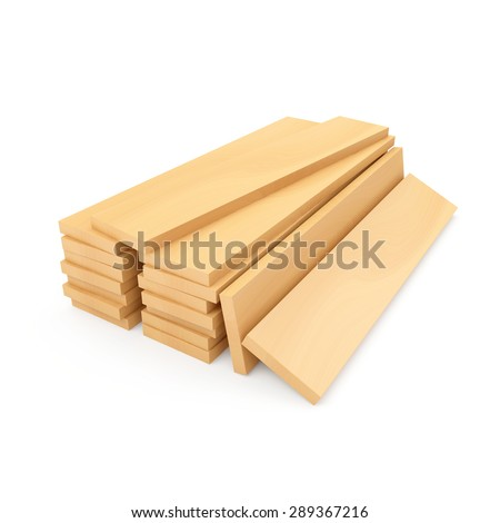 Stack of Wooden Construction Planks or Timber Planks isolated on white background - stock photo