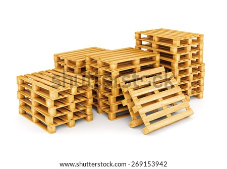 Stack of wooden pallets isolated on white background. Cargo, shipping and warehouse concept. - stock photo