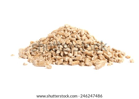 stack of wooden pellets for bio energy, white background, isolated - stock photo