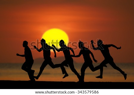 Stack os silhouette running man activity on the beach at dusk. - stock photo