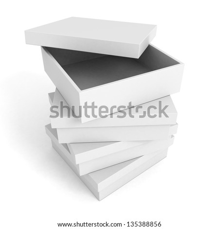 stack tower of white boxes with one opened top - stock photo