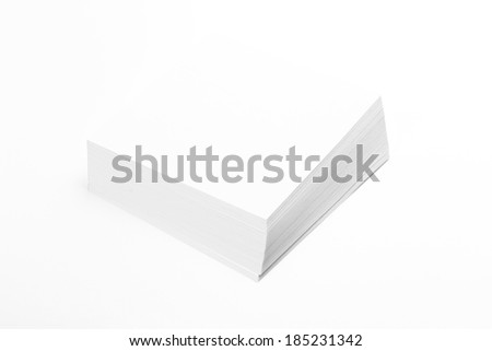 Stack white paper isolated on white