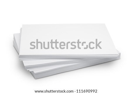 Stack white paper isolated on white background with Clipping Path - stock photo