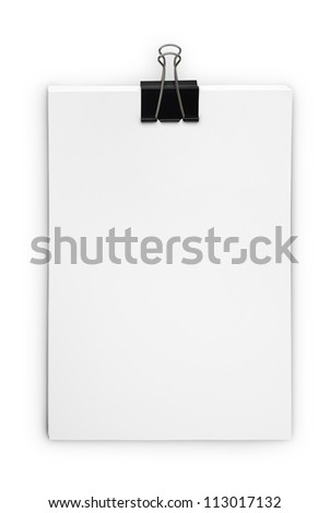 Stack white paper isolated on white background with Clipping Path