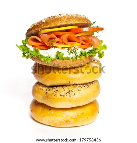 Stacked Bagels with Salmon Bagel Sandwich. Selective focus. - stock photo